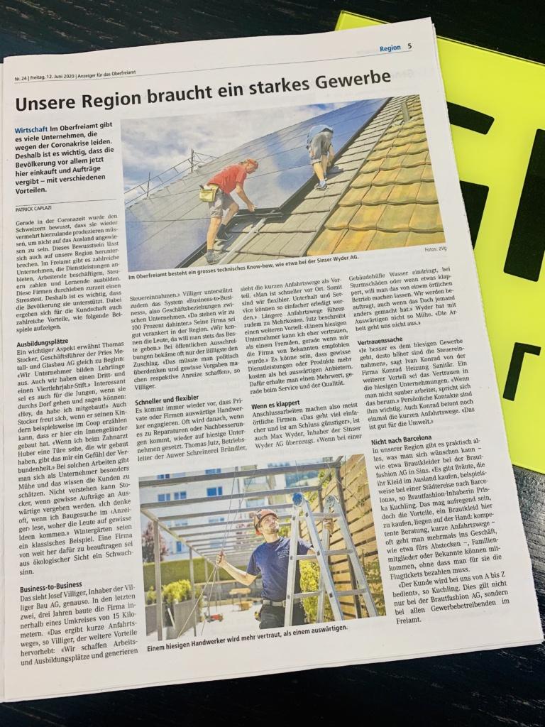 Anzeiger Oberfreiamt Artikel Unsere Region braucht ein starkes Gewerbe vom 12. Juni 2020