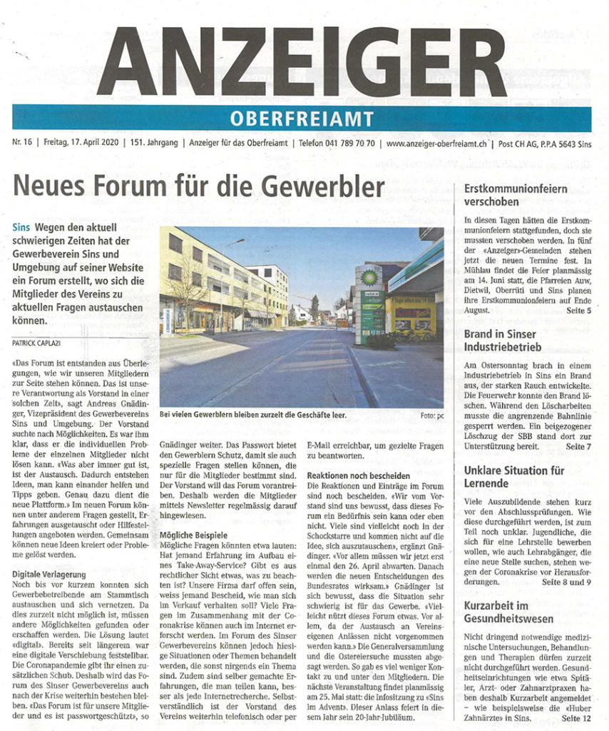 Neues Forum für die Gewerbler des Gewerbevereins Sins und Umgebung Bericht im Anzeiger Oberfreiamt